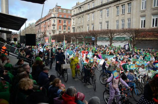 Joyce-Cycle at presidents stand with sabina higgins